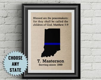 Police Officer Gifts Thin Blue Line Police Officer Gift Blessed Are The Peacemakers Retirement Police Gifts Law Enforcement Gifts