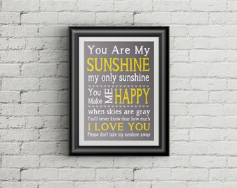 You Are My Sunshine Nursery Print My Only Sunshine Childrens Wall Art Playroom Decor Kids Room
