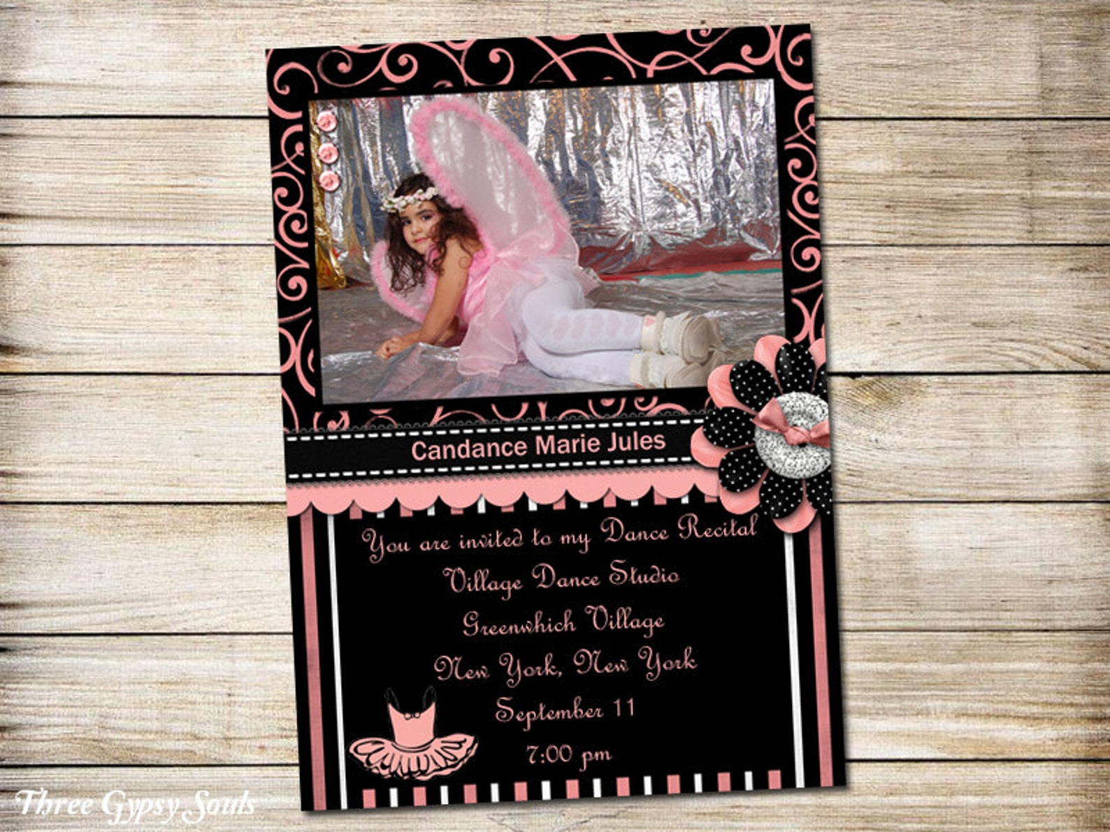 pink and black dance recital invitation ballet recital invitation