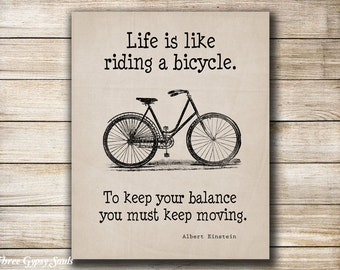 PRINTABLE ART Bicycle Wall Art Albert Einstein Quote Life is Like Riding a Bicycle Wall Decor Vintage Bicycle Einstein