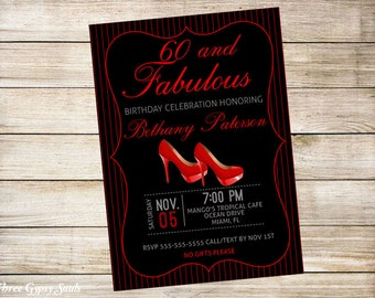 Sixty And Fabulous Birthday Invitation Over The Hill 60th Birthday Party Digital Download