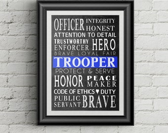 Police Officer Gift  Law Enforcement Officer Gift Police Trooper Wall Art Wall Decor Definition of Police Officer Retirement Gift