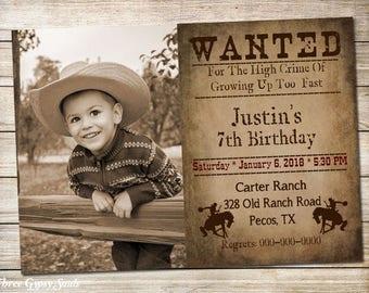 Wanted Invitation Cowboy Birthday Invitation Western Printable Invitation