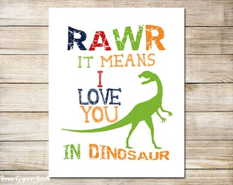 PRINTABLE ART Rawr Means I Love You In Dinosaur Dinosaur Wall Art Dinosaur Art Children's Wall Art Boys Room Decor Boys Room Wall Art