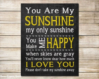 PRINTABLE ART You Are My Sunshine Wall Art Little Girls Room Decor You Are My Sunshine My Only Sunshine Nursery Wall Art Kids Room Decor