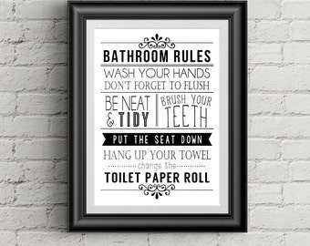 Bathroom Wall Decor Funny Bathroom Art Bathroom Rules Bathroom Wall Art Black and White Typography Art