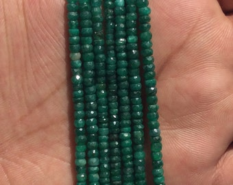 Very fine Microfaceted Emerald beads, 3-4 mm