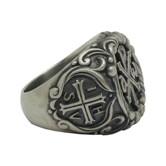 Benedict Medal Statement Ring Exquisite Sterling Silver St