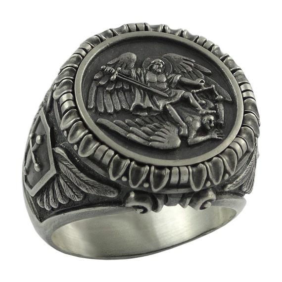 Anillo de plata de ley 925 s/ímbolo de San Benito anillo de exorcismo cat/ólico romano cristiano para hombre protecci/ón demon/íaca