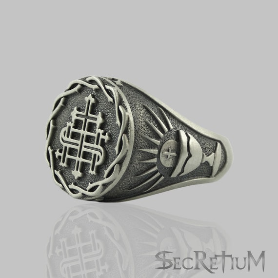 Jesuit Society of Jesus S.J Sterling Silver 925 IHS The Holy Name of Jesus Men Ring Custom made US Sizes