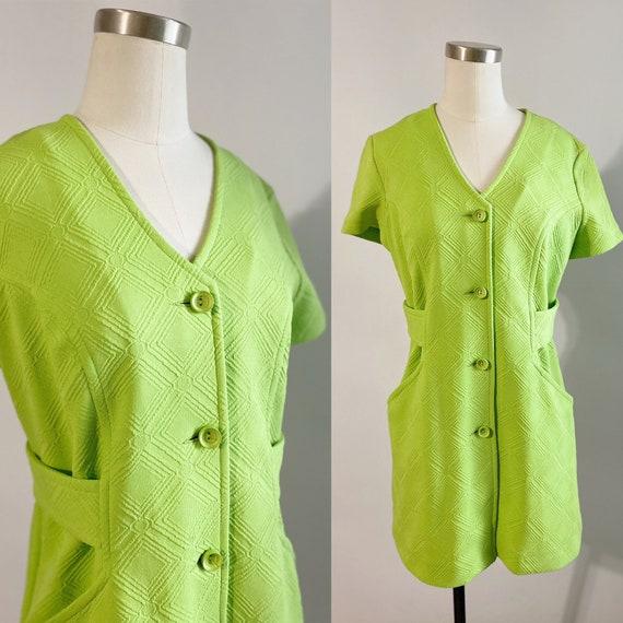 1960s Lime Green Polyester Mini Dress - vintage, m