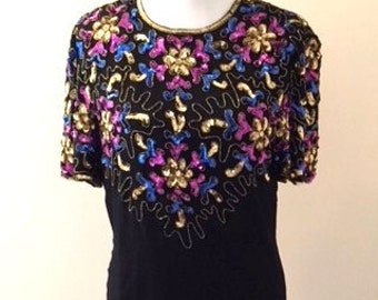 Vintage 1980's Stenay SILK Dress with Iridescent SEQUINED TOP Dramatic Elongated Keyhole Design Back Size 8