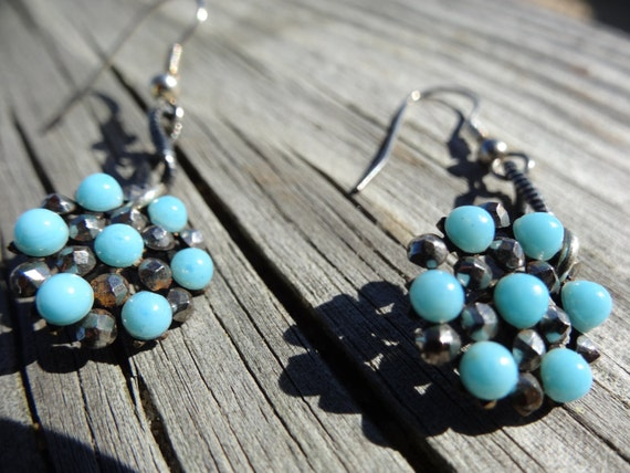 Antique Victorian Earrings Turquoise Button