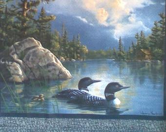 Tissu Petit panneau coussin  Canards sauvages sur l'eau