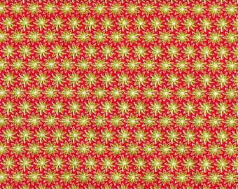Tissu coton patchwork imprimé fleurs stylisées anis sur fond fuschia