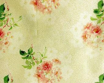 Tissu Patchwork vintage, beige avec branches de roses