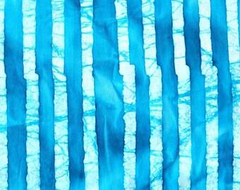Tissu BATIK  Tiges de Bambous tons lumineux bleus turquoise