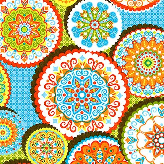 Tissu Patchwork Mandalas Colorés Sur Fond Bleu Ciel Et Vert Etsy