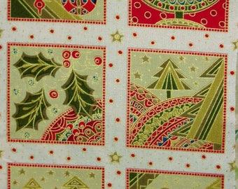 Tissu coton Patchwork  6 vignettes Thème de Noël