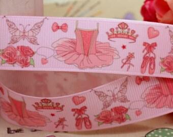 Ruban gros grain fond rose imprimé de tutus et chaussons de ballerines roses  /  22mm.