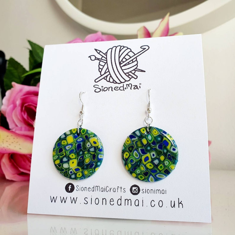 Blue Green Yellow Polymer Clay Earrings Circle