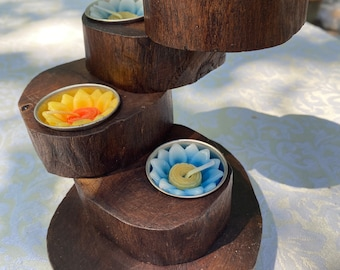 Teak Wood Double Candle Holder Bali Fair Trade Item