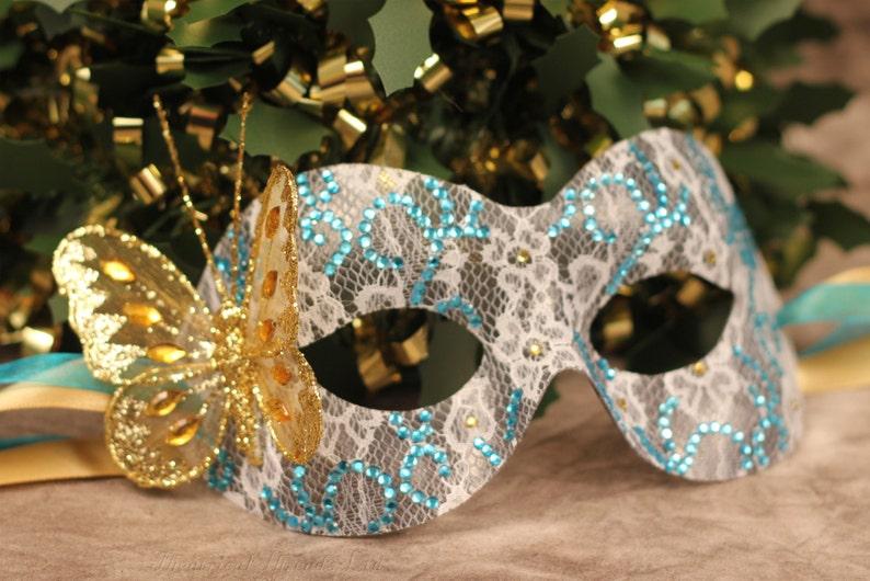 Masquerade Ball Mask Custom Made Rhinestone Butterfly Mask Black