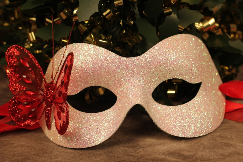 White Glitter Mask Valentines Red Butterfly Christmas Masked Ball