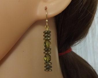 Olive green and gold drop earrings, olive earrings, green earrings, goldfill earrings, summer earrings, boho earrings, festival jewellery