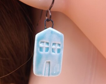 House earrings, ceramic earrings, ceramic building earrings, blue earrings, home earrings, house jewellery