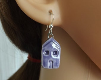 Purple house earrings, ceramic earrings, ceramic building earrings, purple earrings, home earrings, house jewellery, ceramic jewellery