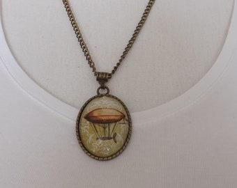 Airship pendant, hot air balloon pendant, Steampunk pendant, steampunk necklace, cyberpunk necklace, steampunk jewellery