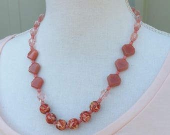 Pink necklace, coral necklace, glass necklace, summer jewellery, boho necklace, festival jewellery, mottled necklace, shell necklace