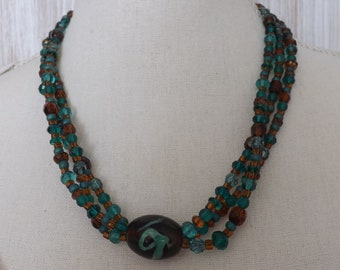 Multi strand glass necklace, teal and brown glass necklace, glass 3 strand necklace, summer jewellery, ethnic necklace, ethnic jewellery