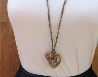 Holed stone, holey stones, holy stones, fairy stones, hag stones, witch stones, Odin stones, stone pendant, natural, plaited hemp cord