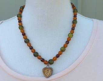 Fairy necklace, autumn necklace, ceramic necklace, beaded necklace, boho jewellery, gypsy necklace, asymmetrical necklace, fairy jewellery