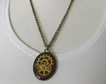 Steampunk pendant, handmade resin pendant, quirky necklace, cogs necklace, cyberpunk pendant, steam punk jewellery, one of a kind pendant