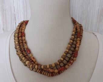 Multi strand wooden necklace, boho necklace, wood 4 strand necklace, summer jewellery, wooden jewellery, ethnic necklace, ethnic jewellery