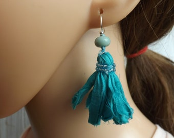 Sari silk earrings, aqua blue earrings, Bohemian earrings, fabric earrings, summer earrings, sari silk jewellery, festival jewellery,
