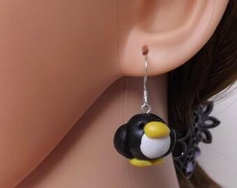 Adorable penguin earrings, handmade fimo penguin earrings, clay earrings, sterling silver ear wires