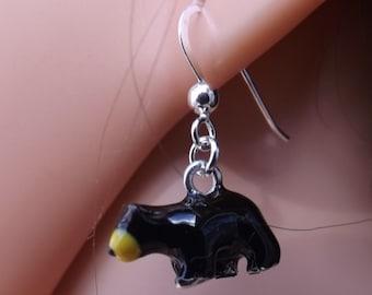 Enamel bear earrings on sterling silver earwires. Animal jewellery
