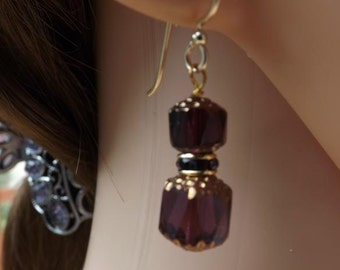 Purple and gold glass drop earrings, on goldfill ear wires, purple earrings, glass earrings