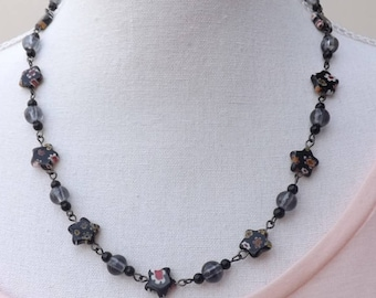 Black millefiori necklace, hand-wired beaded necklace, floral necklace, glass necklace