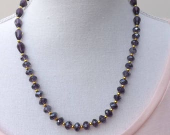 Purple and gold necklace, glass necklace, amethyst  and gold necklace, sparkly necklace, purple jewellery