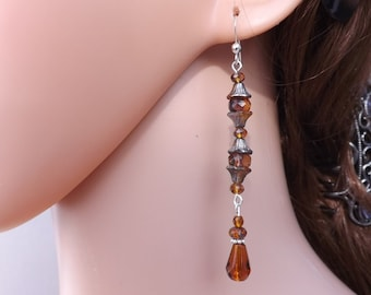 Fairy earrings, long earrings, Czech glass earrings, winter earrings, fun earrings, elegant earrings, autumn jewellery