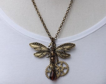 Chunky dragonfly pendant, steampunk statement necklace, dragonfly necklace, big dragonfly
