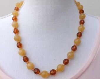 Jade necklace, yellow necklace, summer jewellery, Czech glass necklace, semi-precious jewellery, boho jewellery, semi-precious necklace