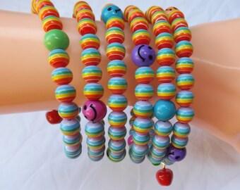 Memory wire bracelet, colourful bracelet, striped bracelet, multi-coil bracelet, smiley bracelet