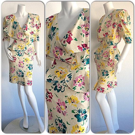 2ab326f463df5 Stunning Vintage Emanuel Ungaro 1980s Silk Floral Skirt Suit / | Etsy