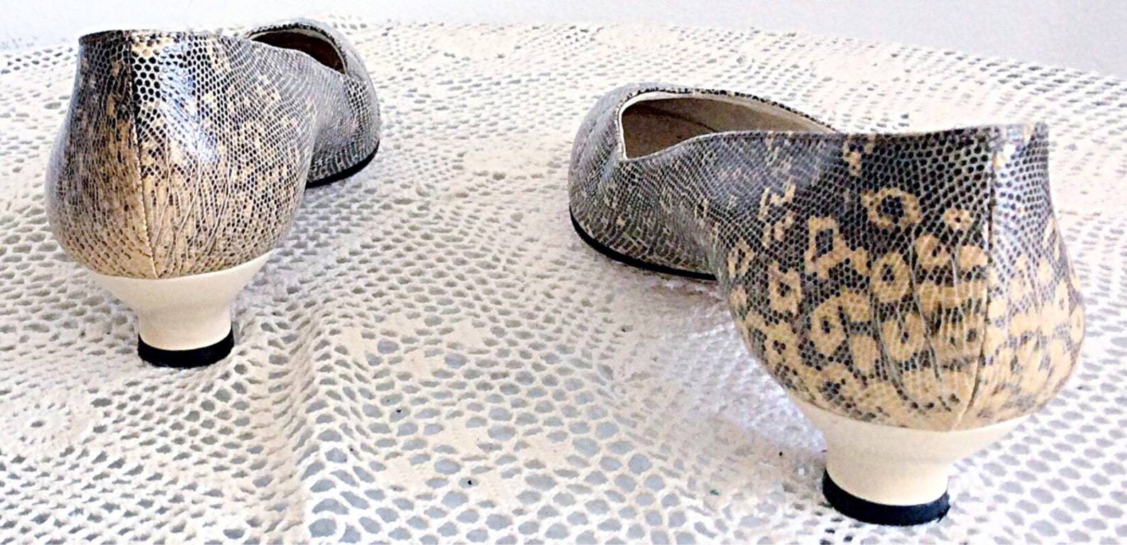 vintage yves saint laurent sz. 9 n shoes snakeskin lizard ballet flats / cream and brown animal print high heels made in italy